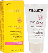 Fragrances, Perfumes, Cosmetics 2-in-1 Soothing Cream Mask - Decleor Harmonie Calm Organic Soothing Comfort Cream & Mask 2in1