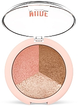 Fragrances, Perfumes, Cosmetics Face Powder 3 in 1 - Golden Rose Nude Look