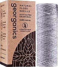 Fragrances, Perfumes, Cosmetics Dental Floss, 2x50 m - Georganics Natural Charcoal Dental Floss (refill)
