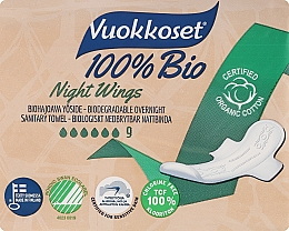 Fragrances, Perfumes, Cosmetics Sanitary Pads, 9 pcs - Vuokkoset Bio Night Wings