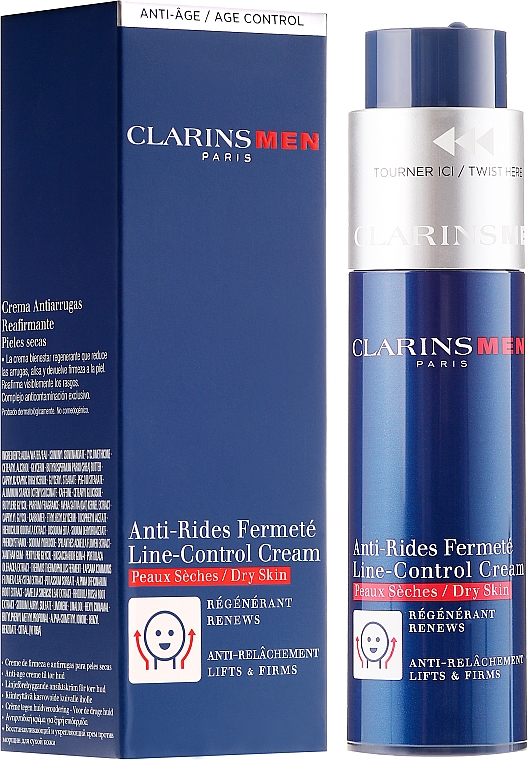 Anti-Aging Cream for Dry Skin - Clarins Men Line-Control Cream For Dry Skin — photo N1