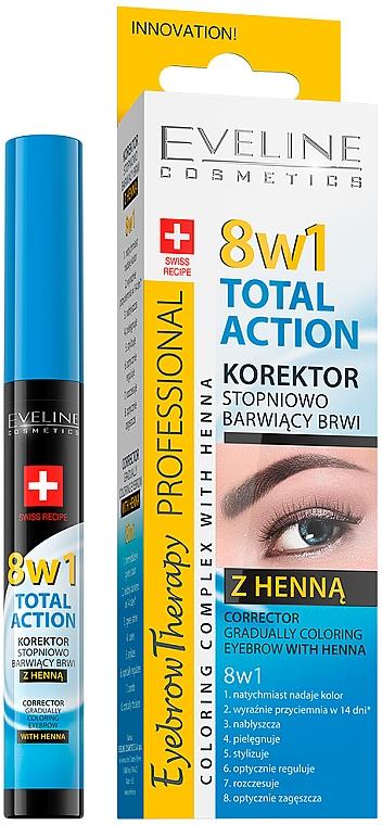 Brow Corrector - Eveline Cosmetics Eyebrow Therapy 8in1 Total Action ECorrector Gradually Coloring Eyebrow With Henna