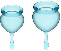Fragrances, Perfumes, Cosmetics Drop-Tail Menstrual Cup Set, blue - Satisfyer Feel Good Menstrual Cup Light Blue