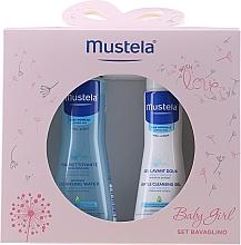 Fragrances, Perfumes, Cosmetics Set - Mustela Baby Girl Bavaglino Set Pink (gel/200ml + water/300ml + bib)