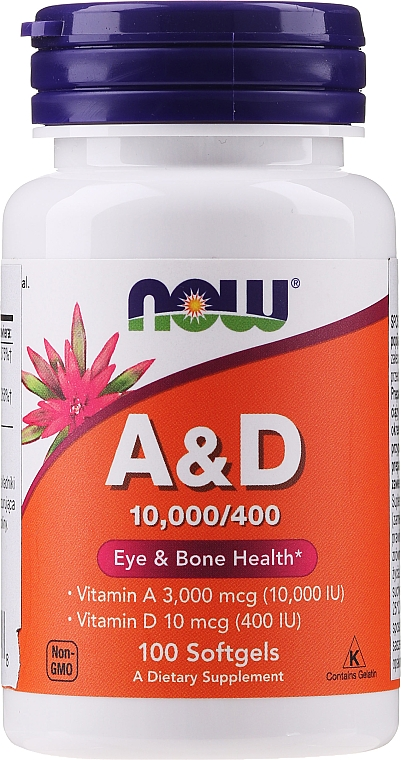 "Dietary Supplement ""Vitamin A & D"" - Now Foods A&D Eye & Bone Health"