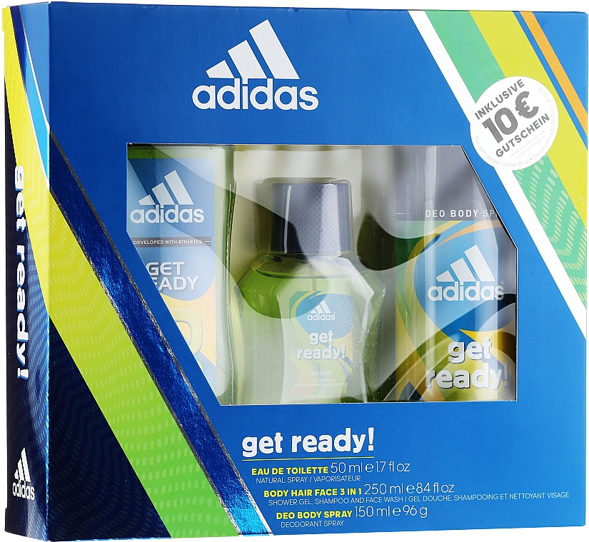 Adidas Get Ready for Him - Set (edt/50ml + deo/150ml + s/g/250ml)