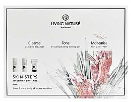 Fragrances, Perfumes, Cosmetics Set - Living Nature Skin Steps To Enrich Dry Skin (milk/50ml + gel/50ml + cr/50ml)
