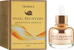 Fragrances, Perfumes, Cosmetics Brightening Facial Serum - Deoproce Snail Recovery Brightening Ampoule