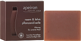 """Fragrances, Perfumes, Cosmetics Natural Soap """"Neem & Clay"""" for Problem Skin - Apeiron Neem & Clay Plant Oil Soap"""