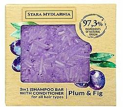 Fragrances, Perfumes, Cosmetics Plum & Fig Shampoo-Conditioner Bar - Stara Mydlarnia Plum & Fig 2in1 Shampoo Bar