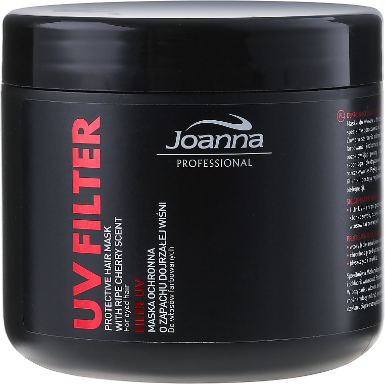UV Filter Colored Hair Mask with Cherry Scent - Joanna Professional Protective Hair Mask UV Filter