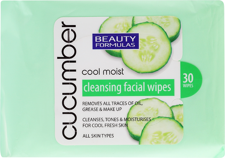 Makeup Remover Wipes with Cucumber Extract - Beauty Formulas Cucumber Cleansing Facial Wipes