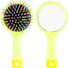 Fragrances, Perfumes, Cosmetics Hair Brush with Mirror, light green - Twish Handy Hair Brush with Mirror Spring Bud