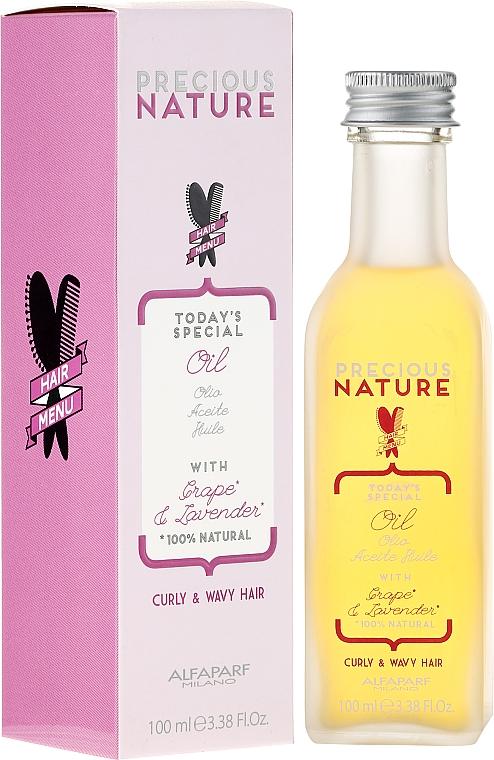 Ultra Light Oil for Curly & Wavy Hair - Alfaparf Precious Nature Oil Curly & Wavy Hair Grape & Lavender