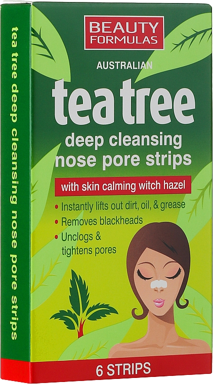 Cleansing Nose Pore Strips - Beauty Formulas Tea Tree Deep Cleansing Nose Pore Strips