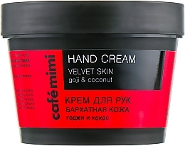 "Fragrances, Perfumes, Cosmetics Hand Cream with Goji and Coconut ""Velvet Skin"" - Cafe Mimi Hand Cream Velvet Skin"