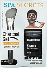 Fragrances, Perfumes, Cosmetics Set - Spa Secrets Charcoal Gel Face Mask (mask/140ml + brush/mask/1pcs)