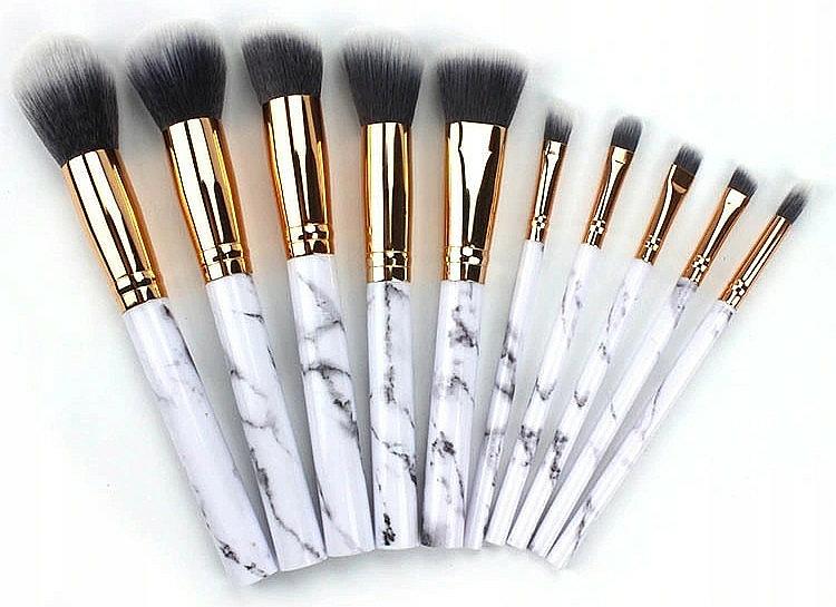 Makeup Brush Set, 10 pcs, white marble - Deni Carte