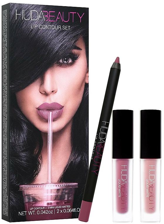 Set - Huda Beauty Desert Lip Contour Set (l/pen/1.2g + lipstick/2x1.9ml) (Spice Girl Venus) — photo N1