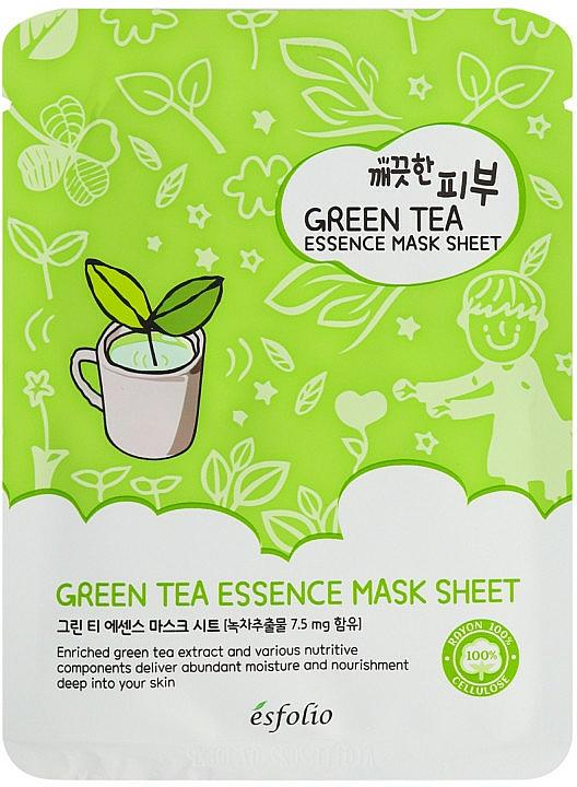 Green Tea Sheet Mask - Esfolio Pure Skin Green Tea Essence Sheet Mask