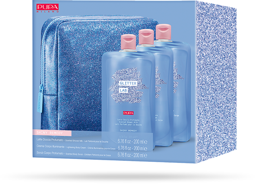 Set - Pupa Glitter Lab Shiny Remedy (bag+milk/200 ml+cream/200ml+scrub/200ml) — photo N2