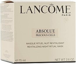 Fragrances, Perfumes, Cosmetics Face Mask - Lancome Absolue Precious Cells Night Ritual Mask