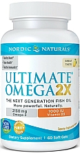 """Fragrances, Perfumes, Cosmetics Dietary Supplement with Lemon Taste """"Omega 2X + Vitamin D3"""", 2150mg - Nordic Naturals Omega 2X With Vitamin D3"""