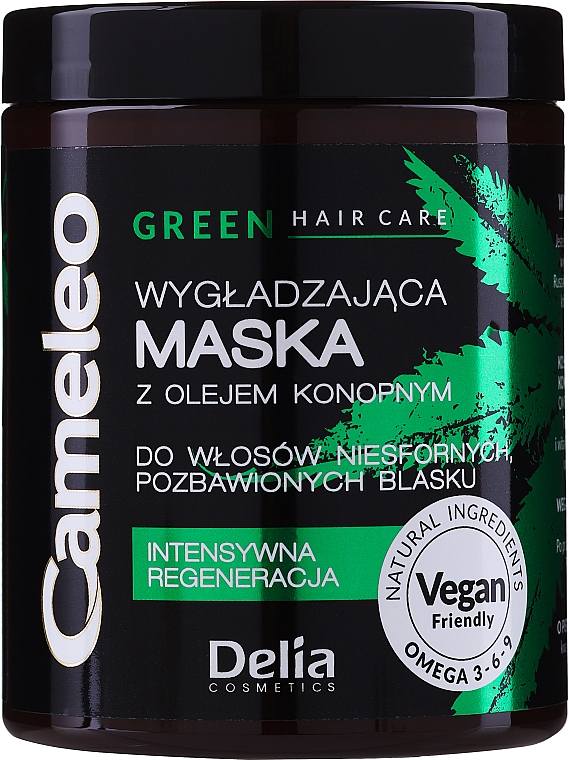 Smoothing Hair Mask with Hemp Oil - Delia Cosmetics Cameleo Green Mask