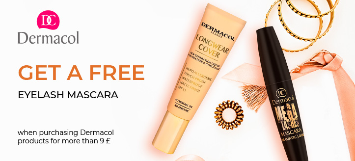 Buying Dermacol products for more than 9 £, get Eyelash Mascara for free