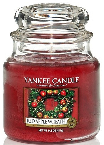 """Candle in Glass Jar """"Red Apple Wreath"""" - Yankee Candle Red Apple Wreath"""