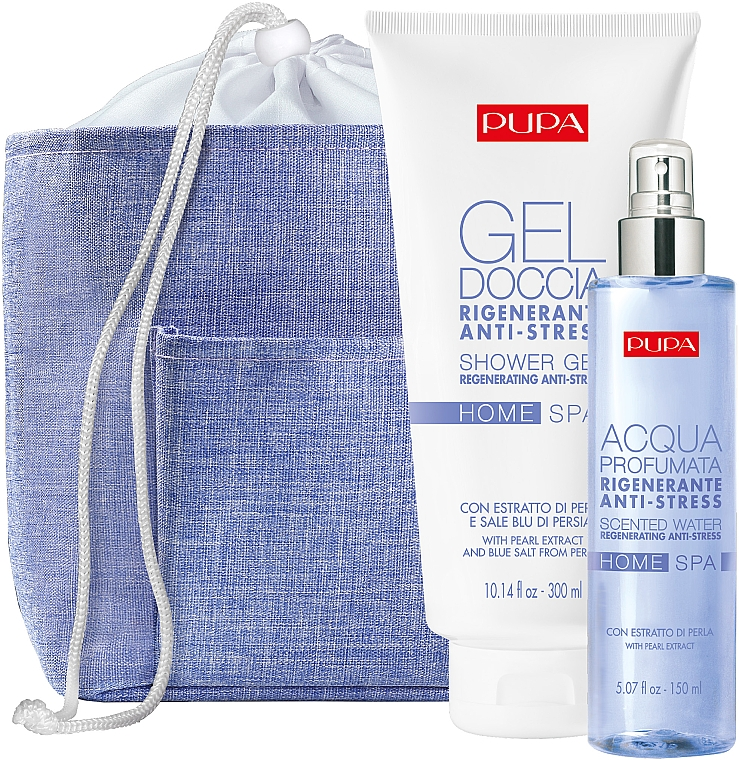 Set - Pupa Home Spa Regenerating Anti-Stress Pearl Powder (sh/gel/300ml + aroma/water/150ml+ bag)
