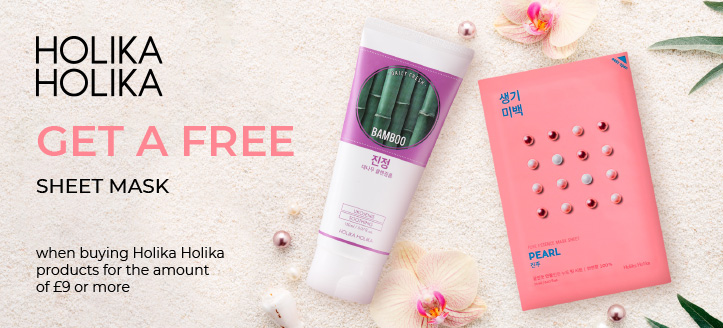 Get a free Face Sheet Mask when buying Holika Holika products for the amount of £9 or more