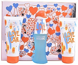 Fragrances, Perfumes, Cosmetics Moschino I Love Love - Set (edt/50ml+b/lot/100ml+sh/gel/100ml)