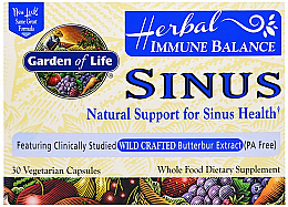Fragrances, Perfumes, Cosmetics Immune Balance Sinus, capsules  - Garden of Life Immune Balance Sinus