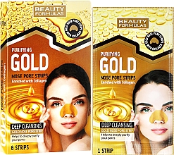 Fragrances, Perfumes, Cosmetics Cleansing Nose Pore Strips - Beauty Formulas Purifying Gold Nose Pore Strips