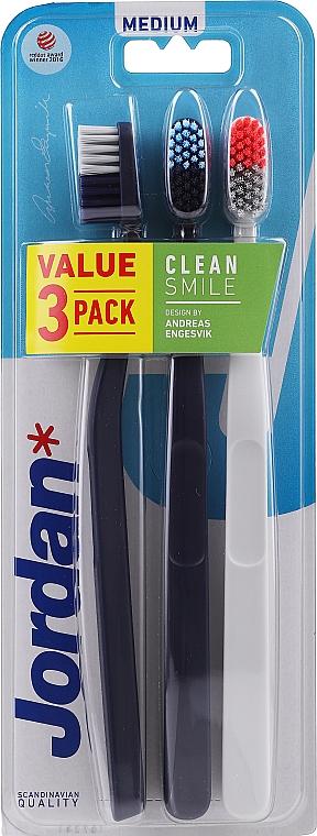 Toothbrush, medium, black, white, black - Jordan Clean Smile Medium — photo N1