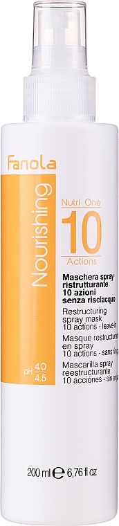 Restructuring Leave-In Hair Spray Mask, PH 4.0-4.5 - Fanola Nourishing Nutri One 10 Actions Restructuring Spray Mask