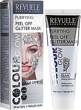 Fragrances, Perfumes, Cosmetics Silver Purifying Peel-Off Mask - Revuele Color Glow Glitter Mask Pell-Off Purifying