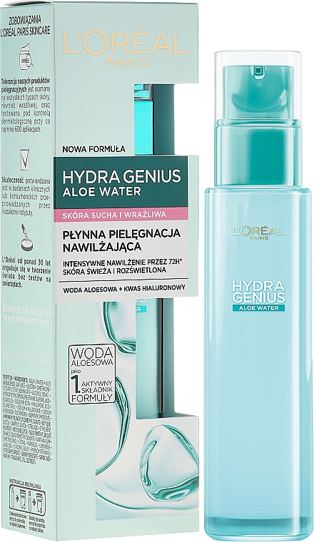 Face Aqua-Fluid for Dry & Sensitive Skin - L'Oreal Paris Hydra Genius Aloe Water