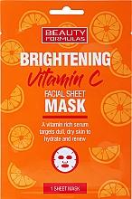 Fragrances, Perfumes, Cosmetics Brightening Facial Sheet Mask - Beauty Formulas Brightening Vitamin C Facial Sheet Mask