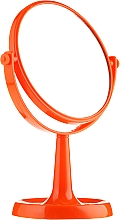 Fragrances, Perfumes, Cosmetics Stand Mirror 85734, round, 15,5 cm, orange - Top Choice Colours Mirror
