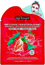 "Fragrances, Perfumes, Cosmetics Cleansing Facial Sheet Mask ""Strawberry & Mint"" - Freeman Feel Beautiful Pore Cleansing Sheet Mask"