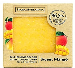 Fragrances, Perfumes, Cosmetics Sweet Mango Shampoo-Conditioner Bar - Stara Mydlarnia Sweet Mango 2in1 Shampoo Bar