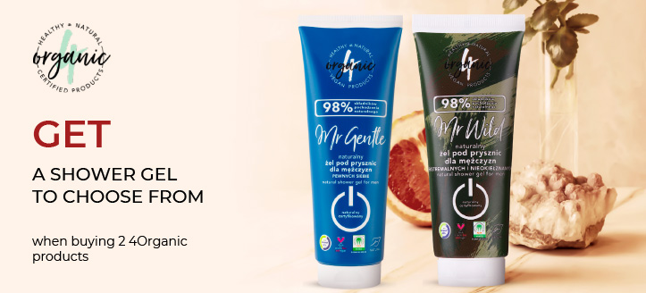 When buying 2 4Organic products get a free shower gel to choose from