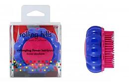 "Fragrances, Perfumes, Cosmetics Compact Hair Brush ""Chamomile"", yellow/dark blue - Rolling Hills Brosse Desenredar Flower"