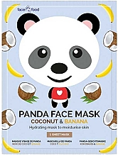 "Fragrances, Perfumes, Cosmetics Facial Sheet Mask ""Panda"" with Banana & Coconut Extracts - 7th Heaven Face Food Panda Face Mask Coconut & Banana"