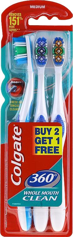Toothbrushes Set, Medium, blue + violet + orange - Colgate 360