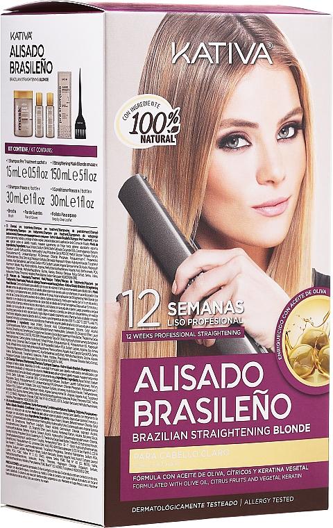 Blonde Hair Keratin Straightening Kit - Kativa Alisado Brasileno Straighten Blonde (shm/15ml + mask/150ml + shm/30ml + cond/30ml)