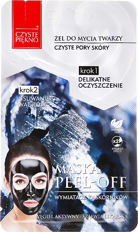 "Face Mask ""Wash Gel + Exfoliating Mask"" - Czyste Piekno Peel Off Mask"