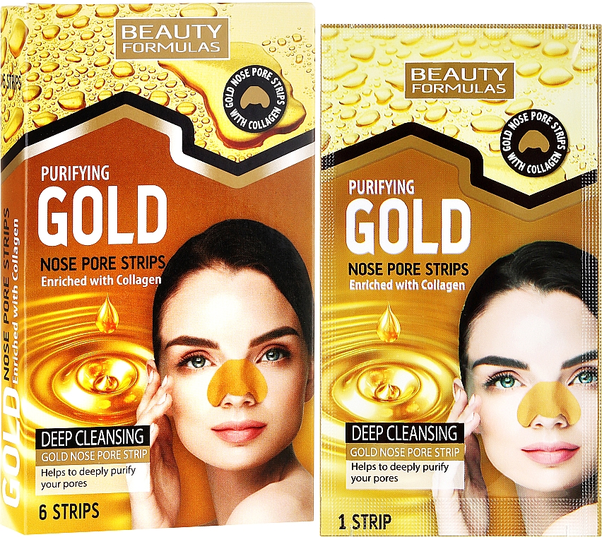 Cleansing Nose Pore Strips - Beauty Formulas Purifying Gold Nose Pore Strips